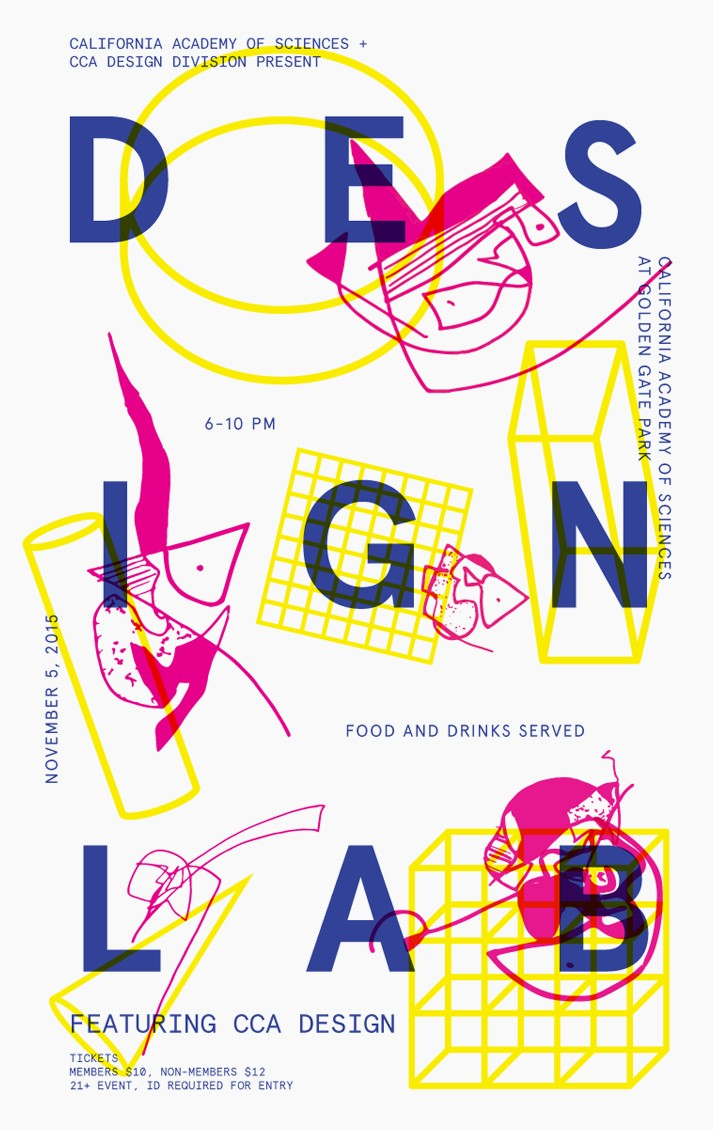 Beth Abrahamson, Poster for Design Lab event at California Academy of Sciences. Risograph print, 11x17, 2015.