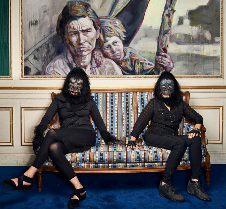 HUNG LIU'S MIGRANT MOTHER- MEALTIME (2016) WITH GUERRILLA GIRLS IMAGE TAKEN BY MANUEL BRAUN (PARIS).